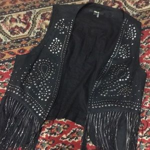 Black with silver stud vest